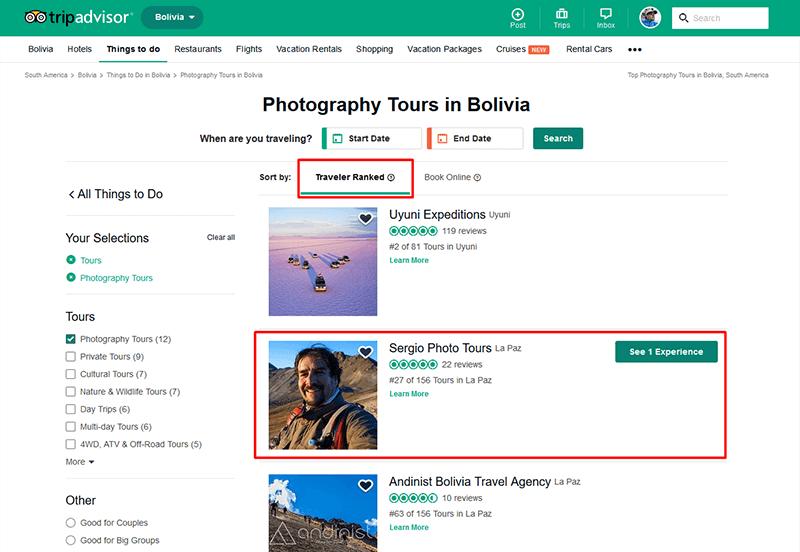 Photo Tours Bolivia ranking